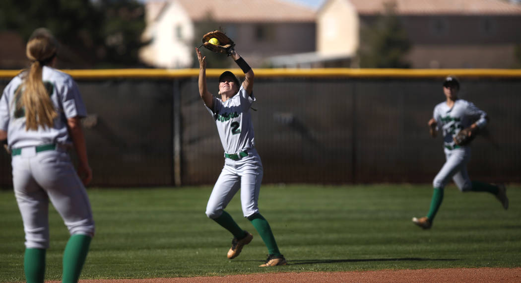 Palo Verde's Jessica Nimmo (2) catches a fly ball during the first inning of a high school softball game against Centennial at Palo Verde High School the on Monday, April 3, 2017, in Las Vegas. Pa ...