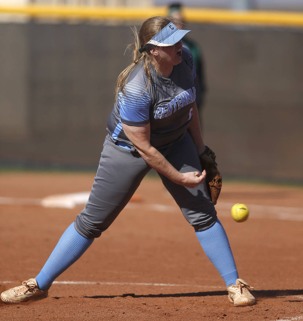 Centennial's Amanda Sink (13) pitches during the first inning of a high school softball game against Palo Verde at Palo Verde High School on Monday, April 3, 2017, in Las Vegas. Palo Verde won 6-1 ...