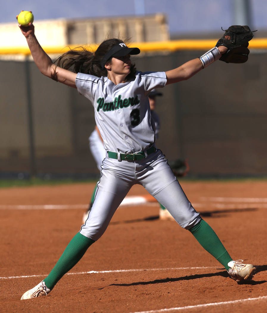 Palo Verde's Taylor Askland (3) pitches during the third inning of a high school softball game against Centennial at Palo Verde High School on Monday, April 3, 2017, in Las Vegas. Palo Verde won 6 ...