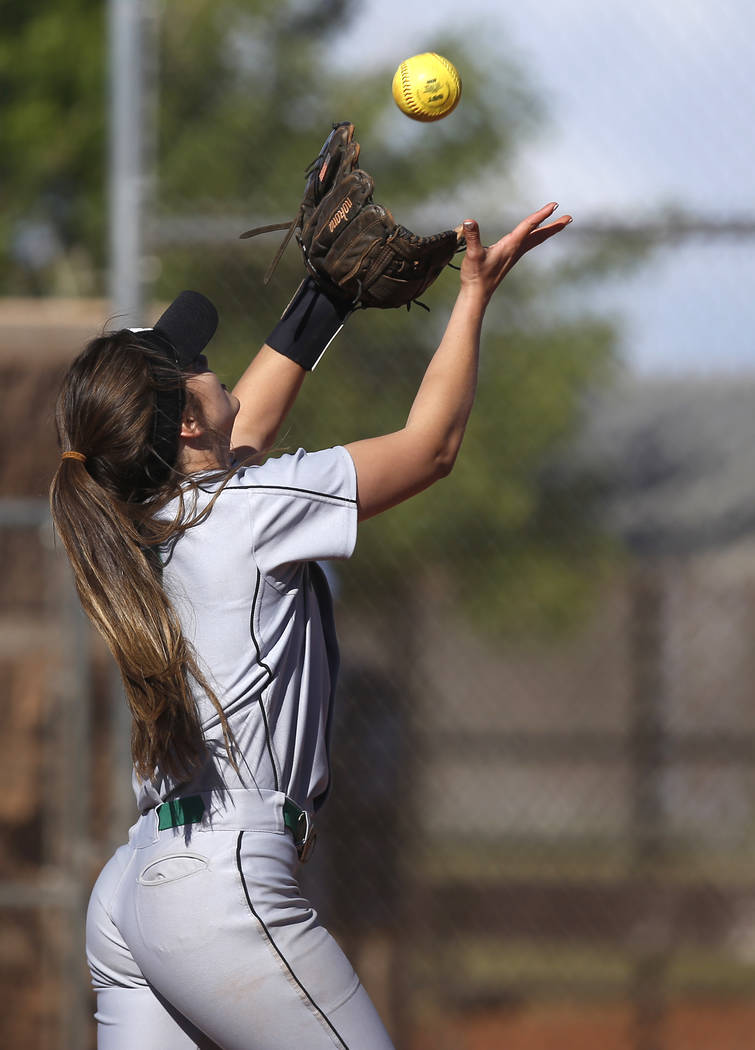 Palo Verde's Taylor Askland (3) catches a fly ball during the third inning of a high school softball game against Centennial at Palo Verde High School on Monday, April 3, 2017, in Las Vegas. Palo  ...