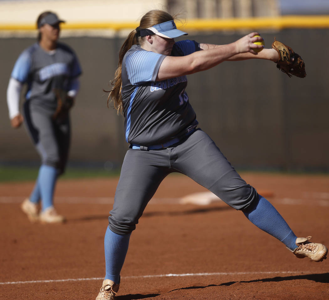 Centennial's Amanda Sink (13) pitches during the third inning of a high school softball game against Palo Verde at Palo Verde High School the on Monday, April 3, 2017, in Las Vegas. Palo Verde won ...