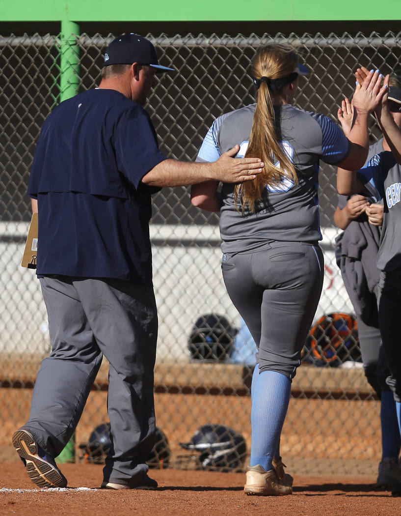 Centennial's Amanda Sink (13) is relieved from pitching during the fourth inning of a high school softball game against Palo Verde at Palo Verde High School on Monday, April 3, 2017, in Las Vegas. ...