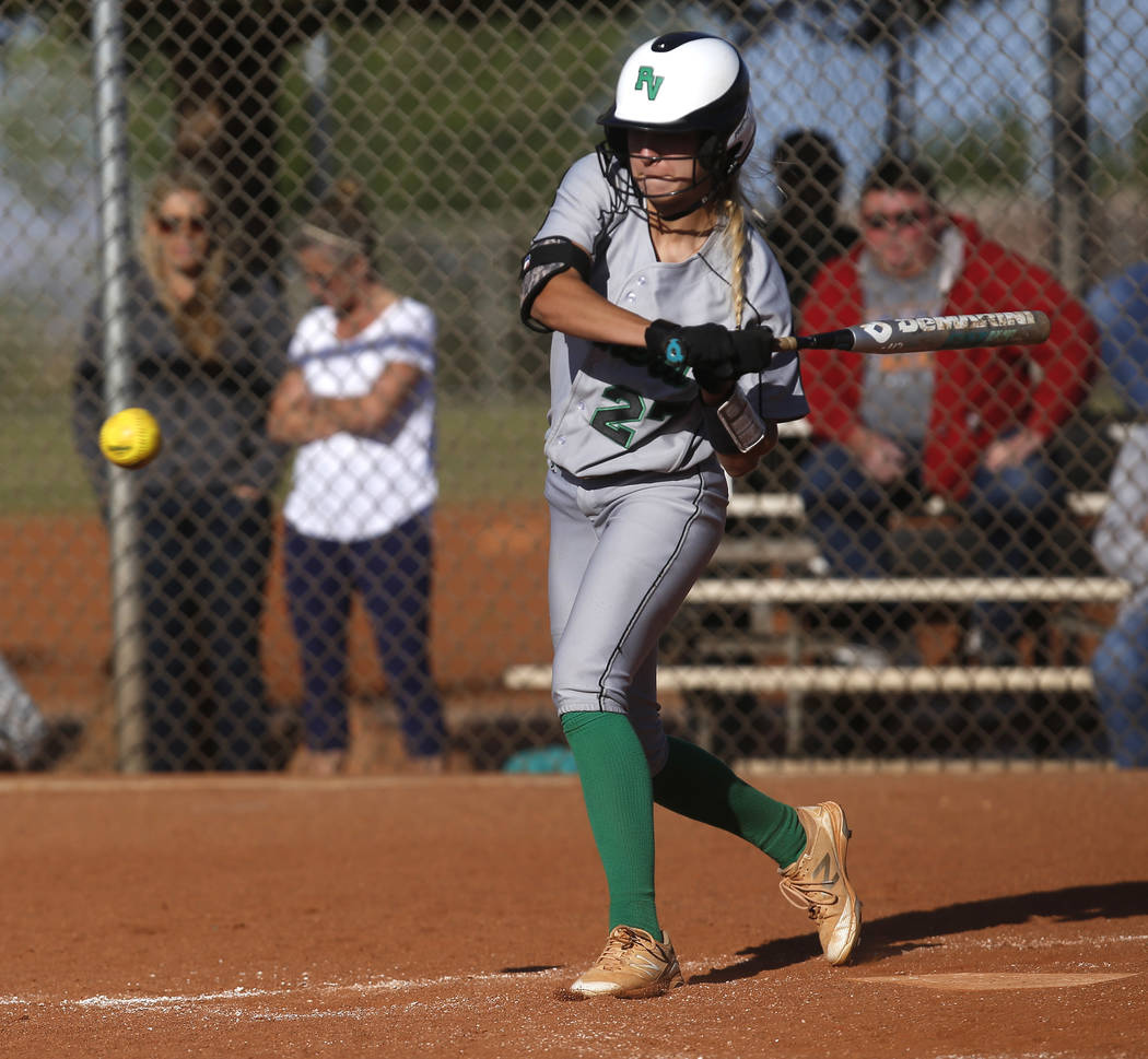 Palo Verde's Camden Zahn (27) swings during the fifth inning of a high school softball game against Centennial at Palo Verde High School  on Monday, April 3, 2017, in Las Vegas. Palo Verde won 6-1 ...