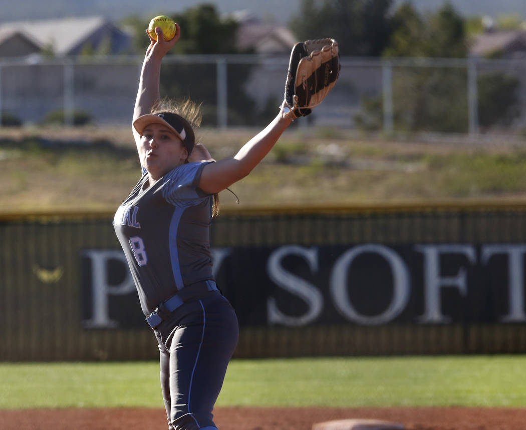 Centennial's Haylee Lupinetti (8) pitches during the sixth inning of a high school softball game against Palo Verde at Palo Verde High School on Monday, April 3, 2017, in Las Vegas. Palo Verde won ...