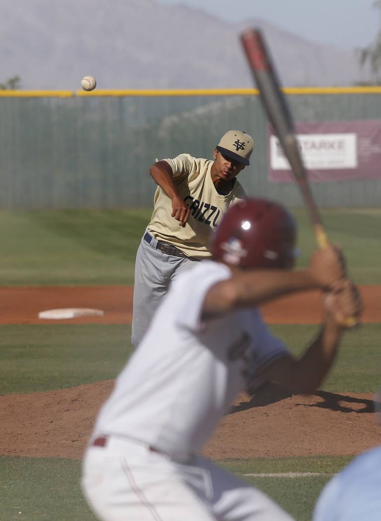 Spring Valley's Jaxson Otis (5) pitches during the fifth inning of a high school baseball game at  Desert Oasis High School on Tuesday, April 4, 2017, in Las Vegas. Spring Valley won 4-0. (Christi ...