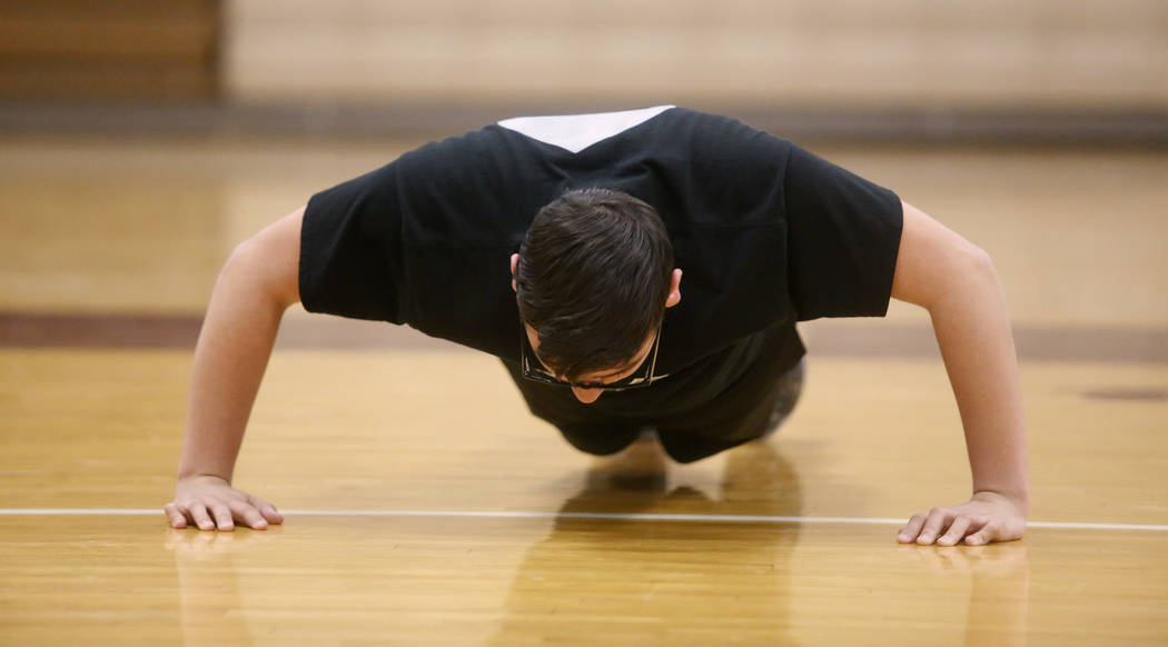 Senior setter Edher Aldaco exercise during volleyball practice at Cimarron-Memorial High School on Friday, March 31, 2017, in Las Vegas. Christian K. Lee Las Vegas Review-Journal @chrisklee_jpeg