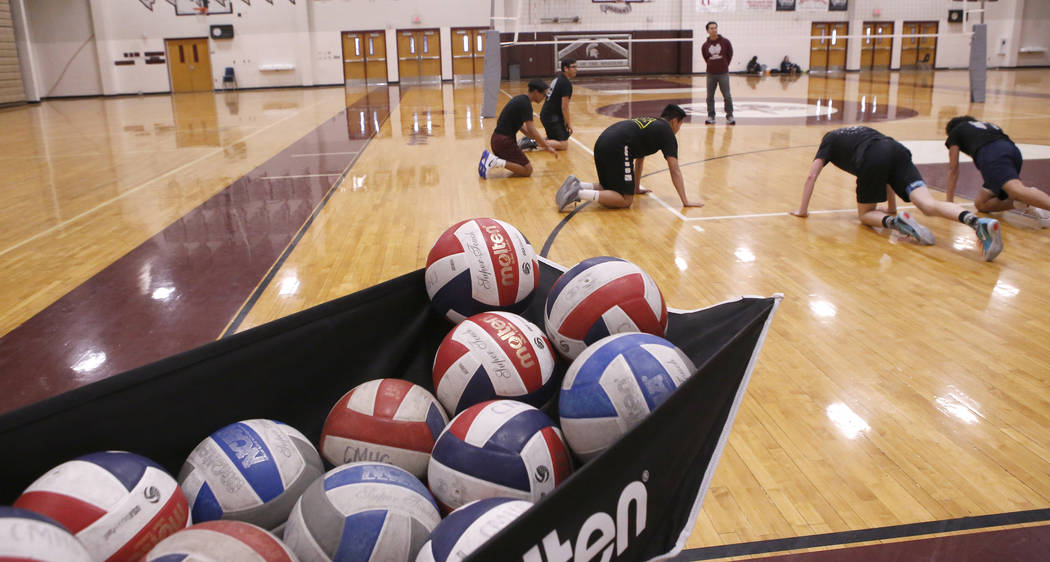 Cimarron-Memorial High School volleyball team works out during practice at the school on Friday, March 31, 2017, in Las Vegas. Christian K. Lee Las Vegas Review-Journal @chrisklee_jpeg
