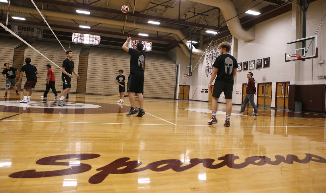 Senior setter Edher Aldaco hit the ball during volleyball practice at Cimarron-Memorial High School on Friday, March 31, 2017, in Las Vegas. Christian K. Lee Las Vegas Review-Journal @chrisklee_jpeg