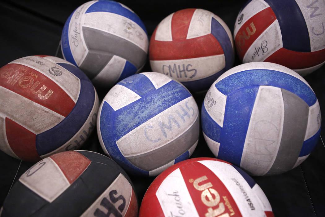 Volleyballs during practice at Cimarron-Memorial High School on Friday, March 31, 2017, in Las Vegas. Christian K. Lee Las Vegas Review-Journal @chrisklee_jpeg