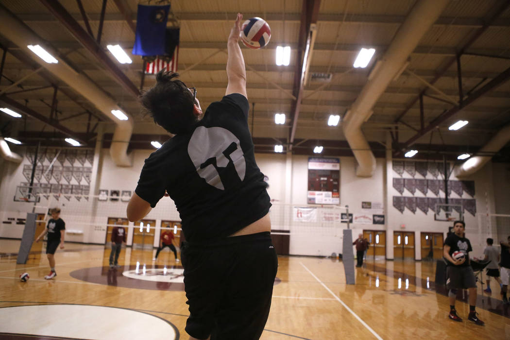 Senior setter Edher Aldaco hits the ball during volleyball practice at Cimarron-Memorial High School on Friday, March 31, 2017, in Las Vegas. Christian K. Lee Las Vegas Review-Journal @chrisklee_jpeg
