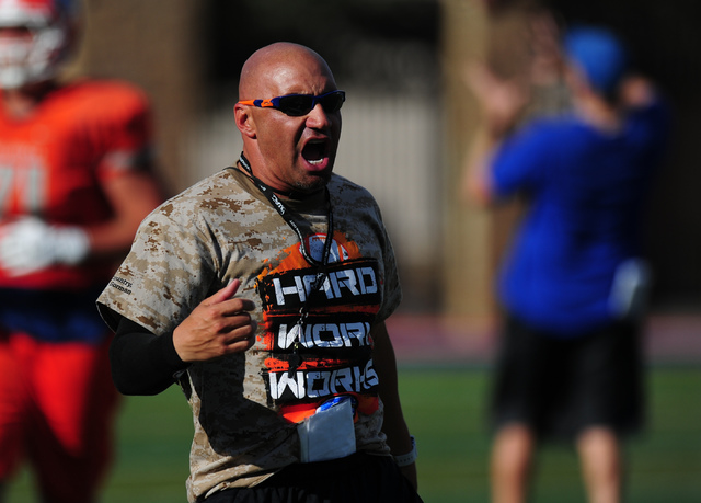 Bishop Gorman head coach Kenny Sanchez yells out instructions during practice at Bishop Gorman High School in Las Vegas, Wednesday, Aug. 31, 2016. (Josh Holmberg/Las Vegas Review-Journal)