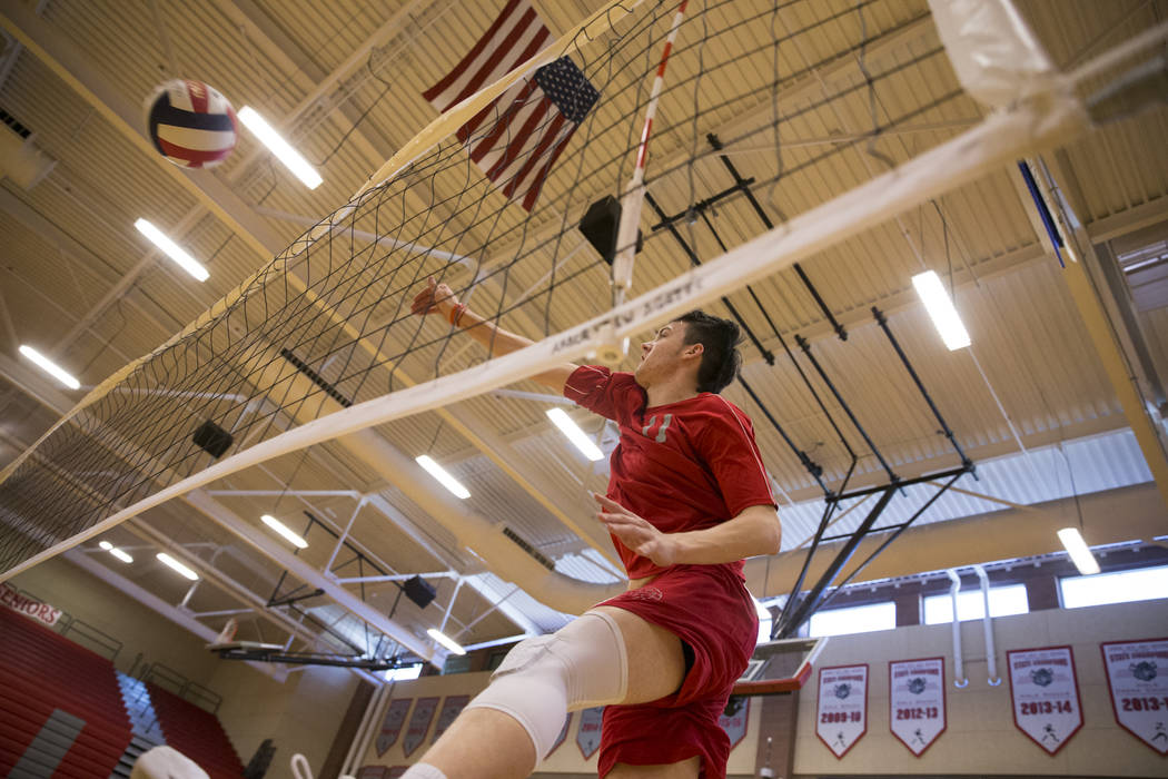 Arbor View's Treven Clizbe (11) during a volleyball team practice at Arbor View High School on Thursday, March 2, 2017, in Las Vegas. (Erik Verduzco/Las Vegas Review-Journal) @Erik_Verduzco
