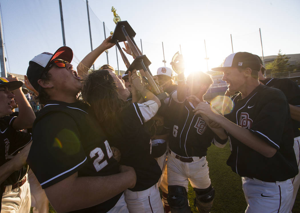 Desert Oasis players celebrate after defeating Jordan 6-3 in the Bishop Gorman Desert Classic at Bishop Gorman High School in Las Vegas on Saturday, April 8, 2017. Chase Stevens Las Vegas Review-J ...