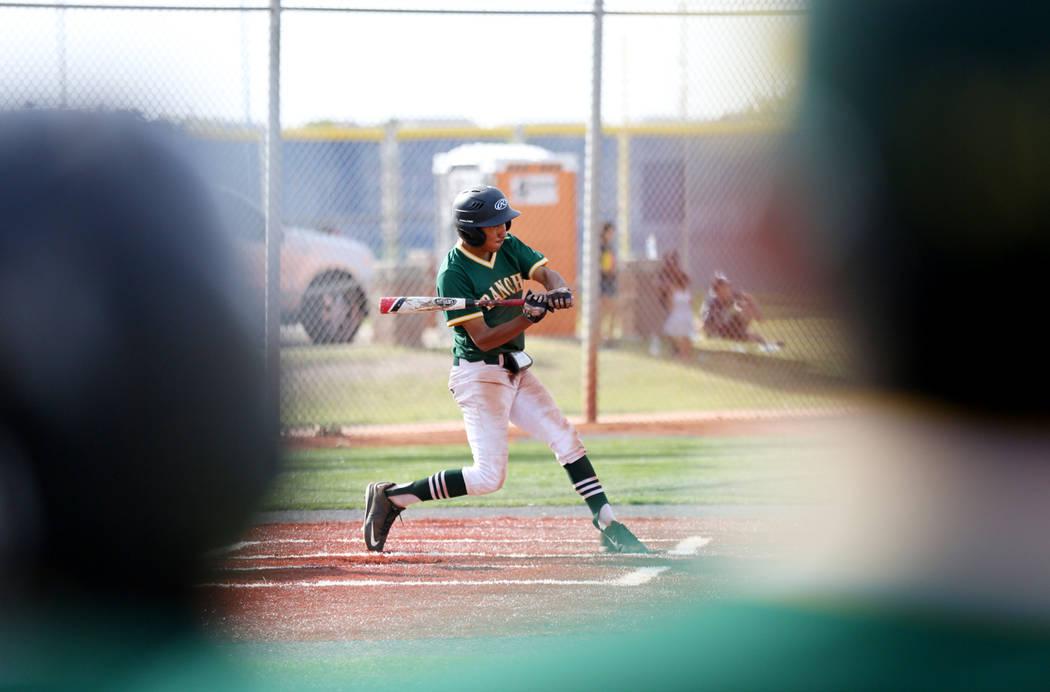 Rancho's David Arambula (16) is up to bat against San Pedro High School(Calif.) at Shadow Ridge High School in Las Vegas Monday, April 10, 2017. Elizabeth Brumley Las Vegas Review-Journal @EliPage ...