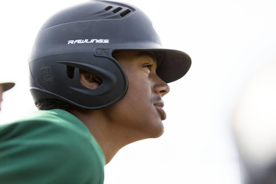 Rancho's Edarian Williams (32) cheers on his teammates against San Pedro High School (Calif.) at Shadow Ridge High School in Las Vegas Monday, April 10, 2017. Elizabeth Brumley Las Vegas Review-Jo ...