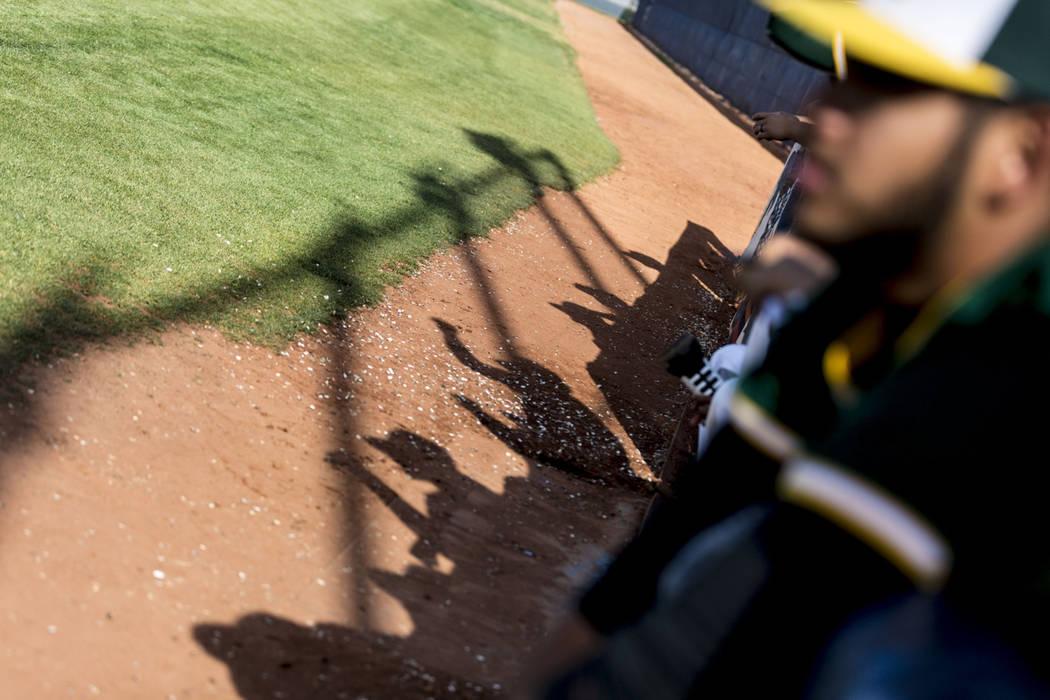 Rancho cheers on their team during a game against San Pedro High School (Calif.) at Shadow Ridge High School in Las Vegas Monday, April 10, 2017. Elizabeth Brumley Las Vegas Review-Journal @EliPag ...