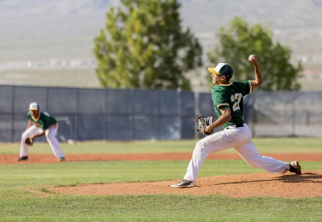 Rancho's Anthony Guzman (27) pitches against San Pedro (Calif.) at Shadow Ridge High School in Las Vegas Monday, April 10, 2017. Elizabeth Brumley Las Vegas Review-Journal @EliPagePhoto