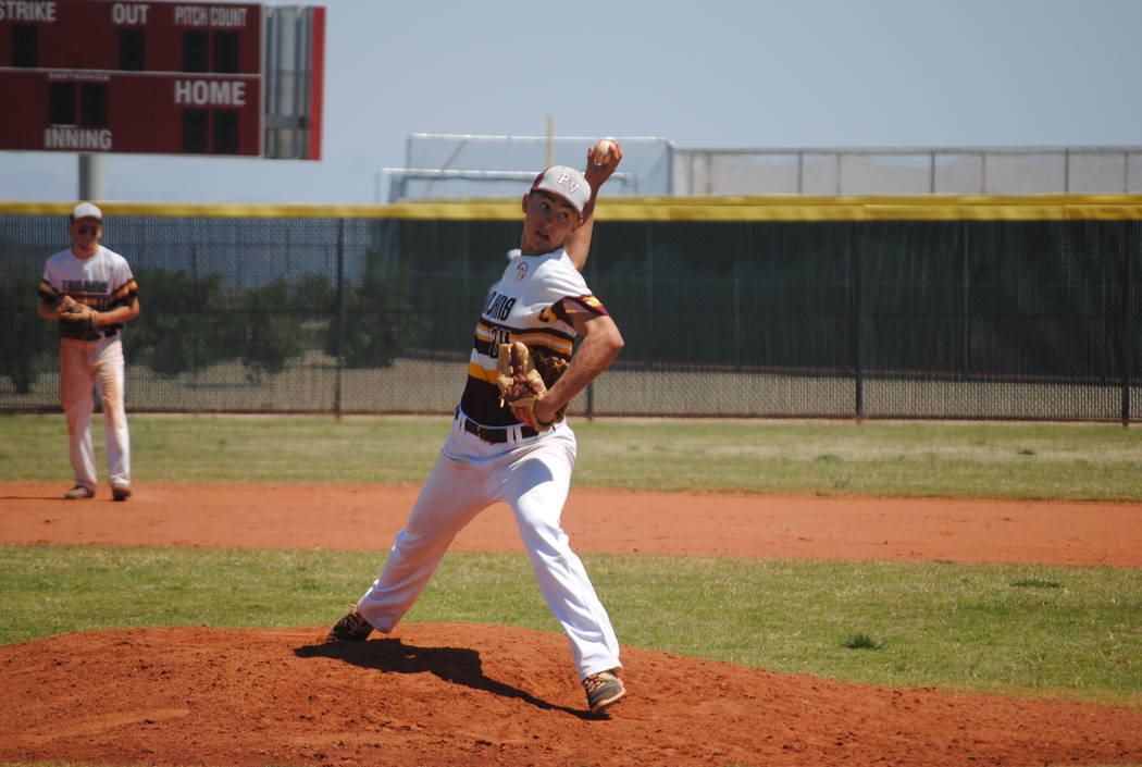 Pahrump Valley's Willie Lucas throws a pitch on Wednesday against Mojave. Lucas fired a no-hitter as the Trojans won 5-0 to capture the Cowboy Classic title. (Charlotte Uyeno)