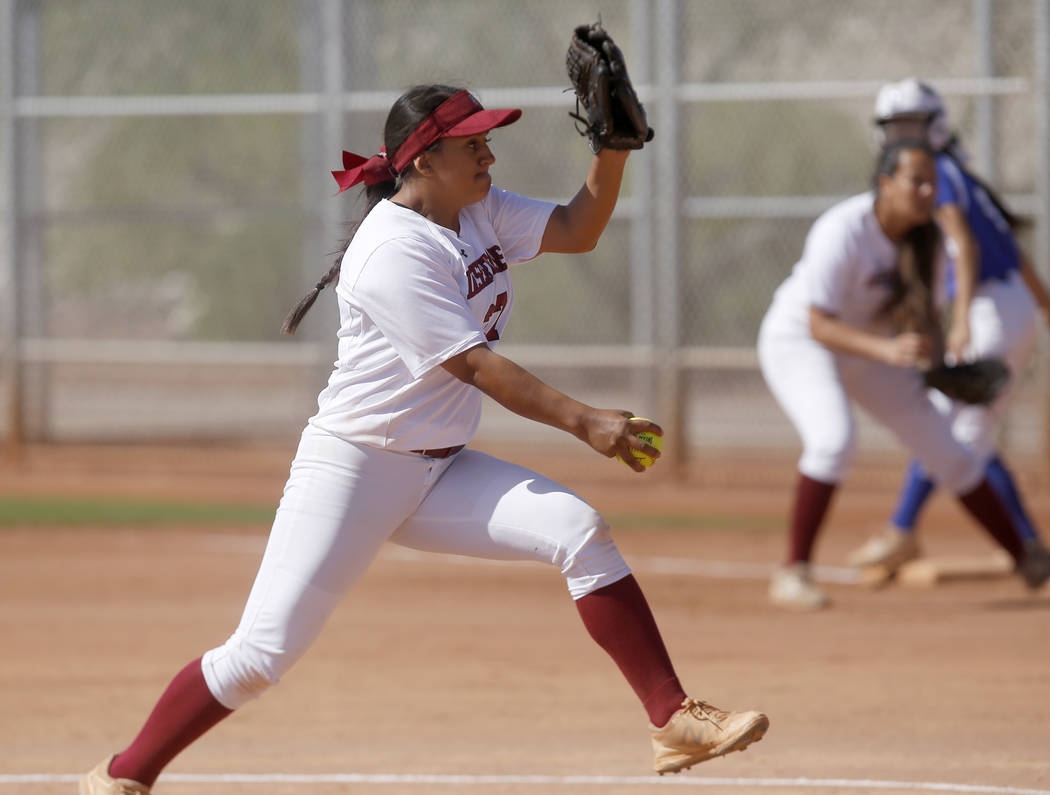 Desert Oasis's Elsy Guzman (27) pitches during a high school softball game at Majestic Park on Thursday, April 13, 2017, in Las Vegas. Basic won 5-2. Christian K. Lee Las Vegas Review-Journal @chr ...