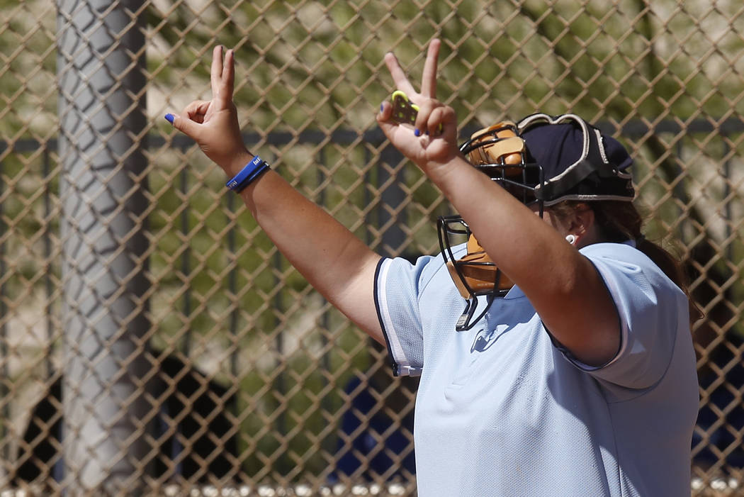 An umpire signals the pitch count during a high school softball game at Majestic Park on Thursday, April 13, 2017, in Las Vegas. Basic won 5-2. Christian K. Lee Las Vegas Review-Journal @chrisklee ...