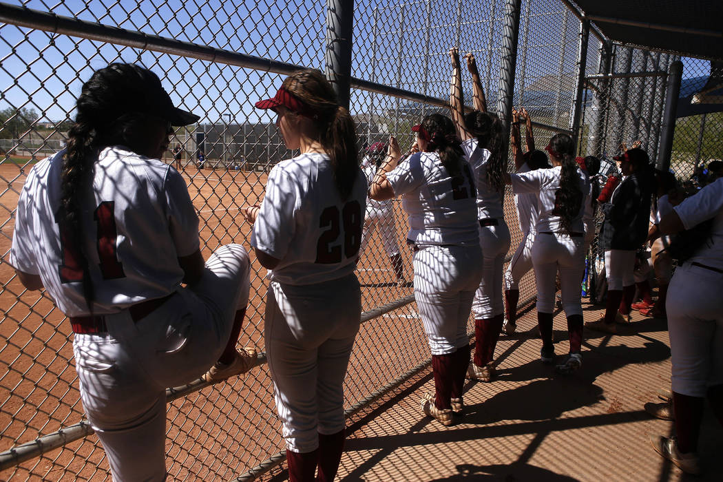 Desert Oasis players in a dugout during a high school softball game at Majestic Park on Thursday, April 13, 2017, in Las Vegas. Basic won 5-2. Christian K. Lee Las Vegas Review-Journal @chrisklee_jpeg