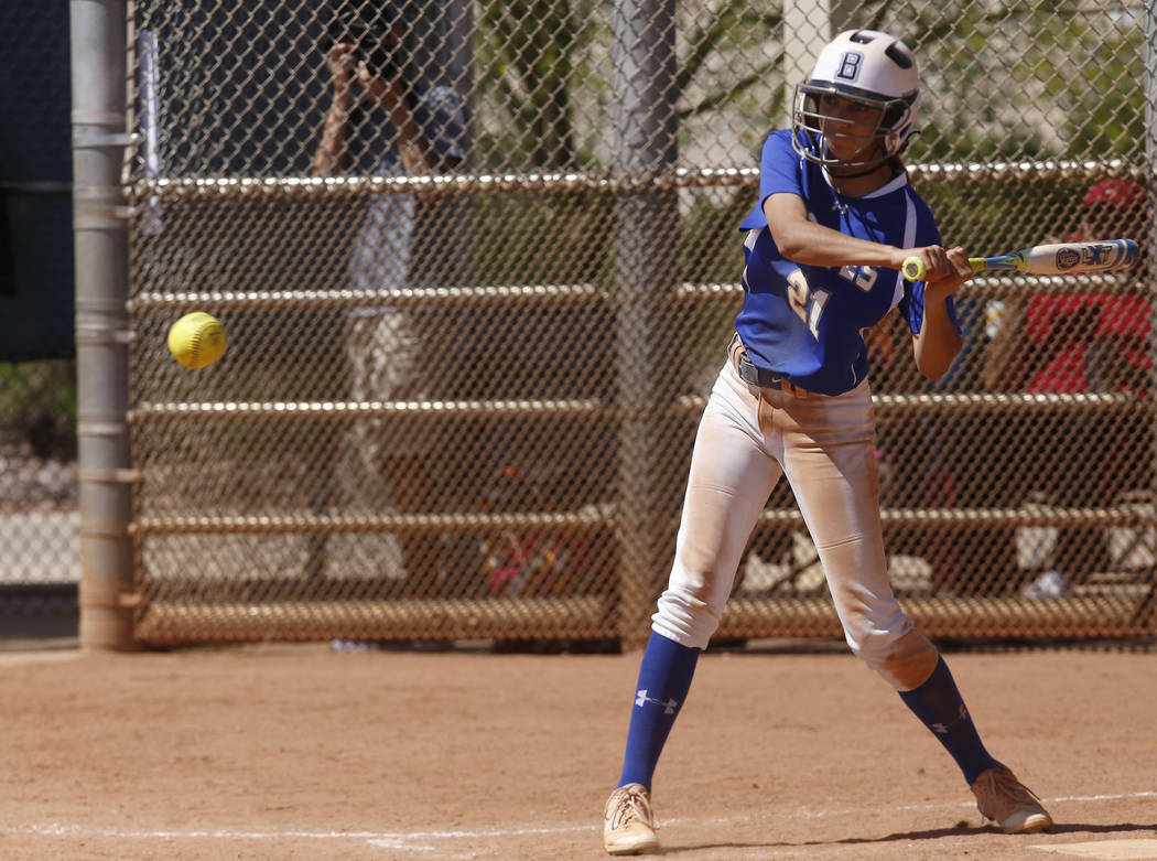 Basic's Alyssa Ferguson (21) swings during a high school softball game at Majestic Park on Thursday, April 13, 2017, in Las Vegas. Basic won 5-2. Christian K. Lee Las Vegas Review-Journal @chriskl ...