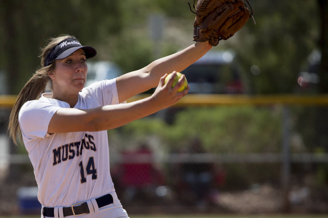 Shadow Ridge junior Shelbi Denman pitches to Banning at Majestic Park in part of the Spring Jamboree softball tournament on Saturday, April 15, 2017, in Las Vegas. Shadow Ridge took 3rd place in t ...