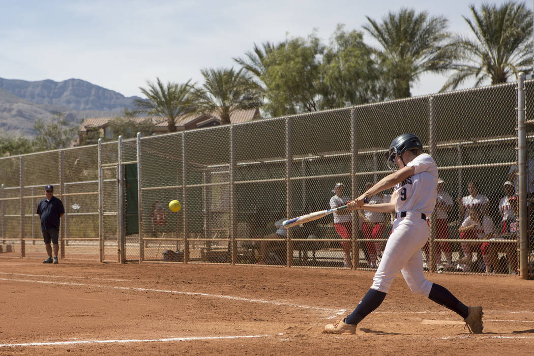 Shadow Ridge junior Maddie Wills hit the ball during their game against Banning at Majestic Park in part of the Spring Jamboree softball tournament on Saturday, April 15, 2017, in Las Vegas. Shado ...