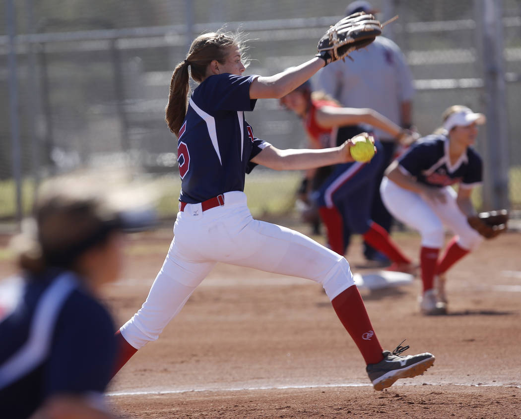 Coronado's Tatum Spangler (5) pitches to Liberty during the first inning of a high school softball game at Coronado High School on Saturday, April 1, 2017, in Henderson. (Christian K. Lee/Las Vega ...
