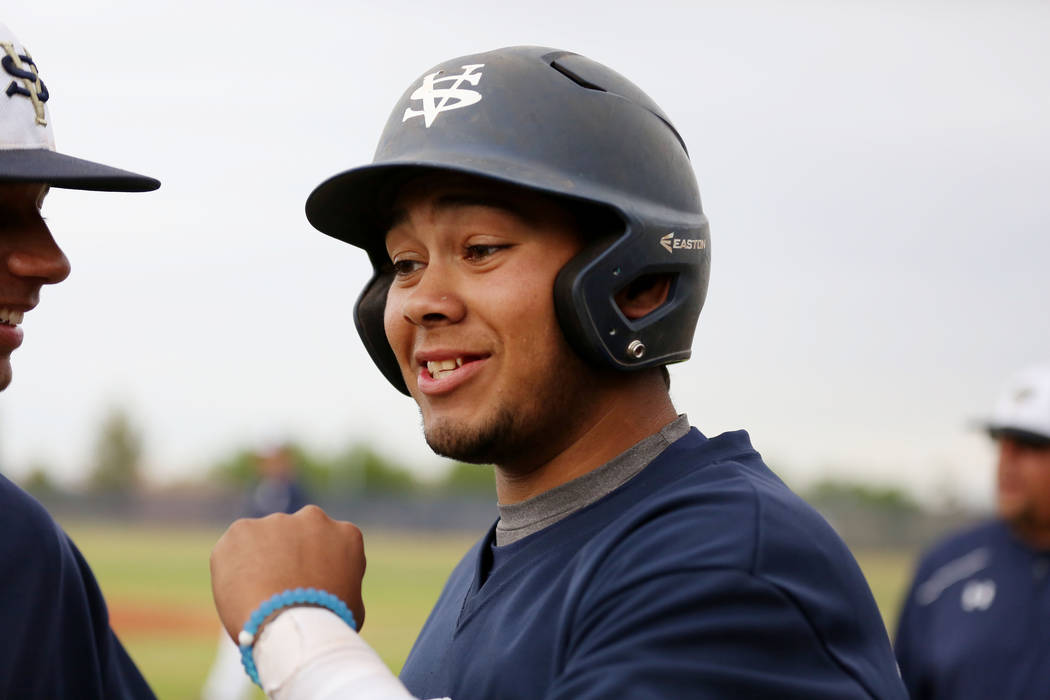 Spring Valley's Humberto Maldonado (33) fist pumps his teammates during a game against Sierra Vista High School at Spring Valley High School in Las Vegas, Monday, April 17, 2017. Elizabeth Brumley ...