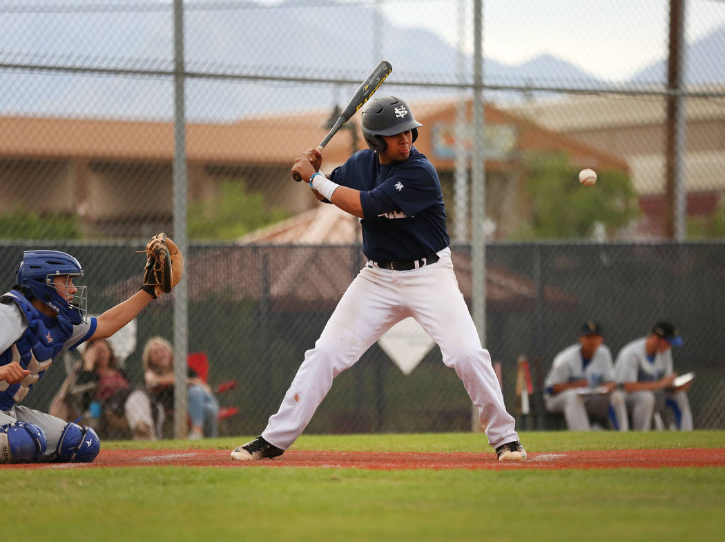 Spring Valley's Humberto Maldonado bats during a game against Sierra Vista at Spring Valley High School in Las Vegas, Monday, April 17, 2017. Elizabeth Brumley Las Vegas Review-Journal @EliPagePhoto
