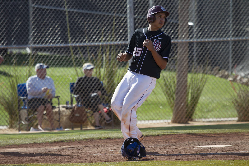 Desert Oasis' Max Prescott (25) runs home for a run against Bishop Gorman at Desert Oasis High School on Tuesday, April 18, 2017, in Las Vegas. Desert Oasis won 5-1. Erik Verduzco Las Vegas Review ...