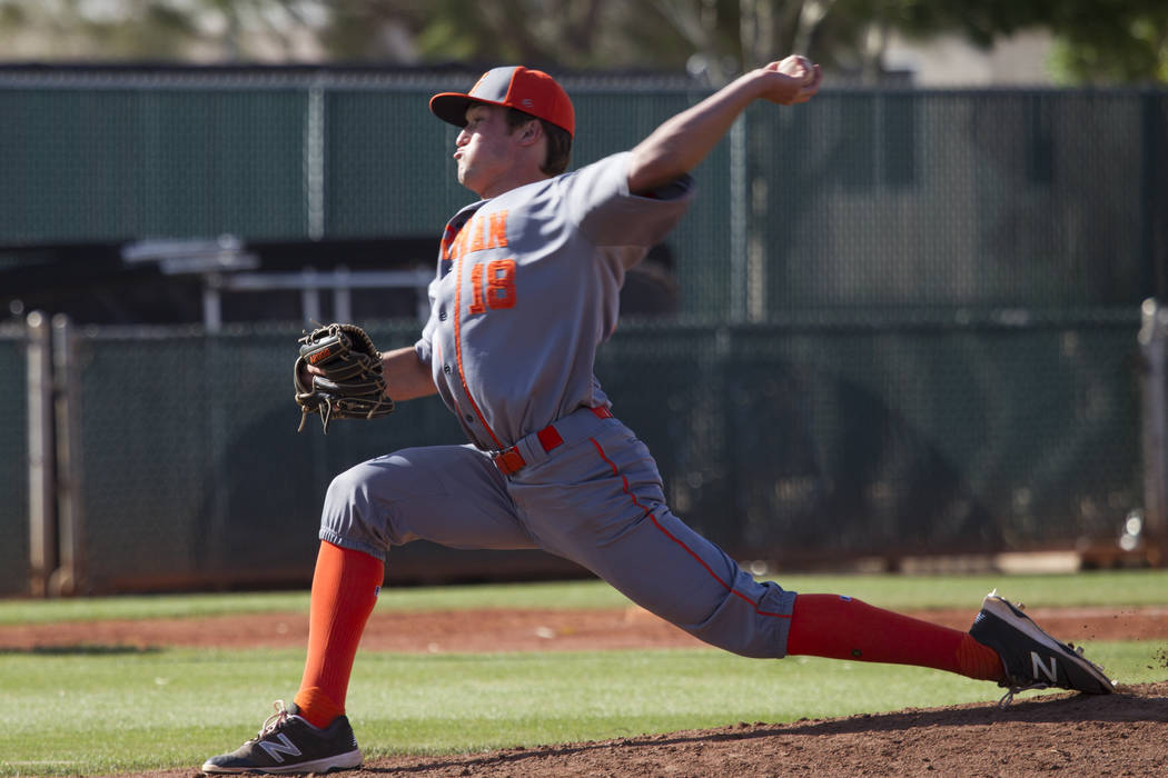 Bishop Gorman's Vinnie DeCesare (18) pitched against Desert Oasis at Desert Oasis High School on Tuesday, April 18, 2017, in Las Vegas. Desert Oasis won 5-1. Erik Verduzco Las Vegas Review-Journal ...