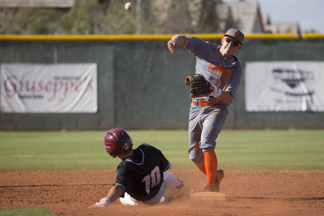 Bishop Gorman's Nick Israel (13) throws to first base late after tagging second base for an out against Desert Oasis at Desert Oasis High School on Tuesday, April 18, 2017, in Las Vegas. Desert Oa ...