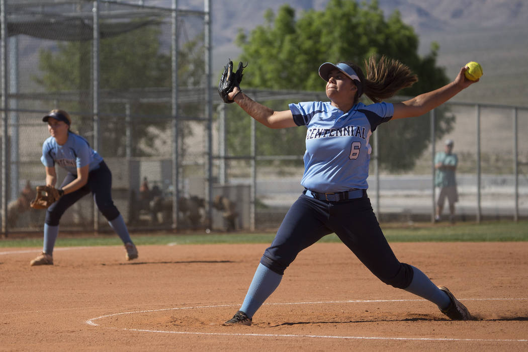 Centennial sophomore Deanna Barrera  pitches to Shadow Ridge during a game at Shadow Ridge High School on Wednesday, April 19, 2017, in Las Vegas.(Bridget Bennett/Las Vegas Review-Journal) @bridge ...