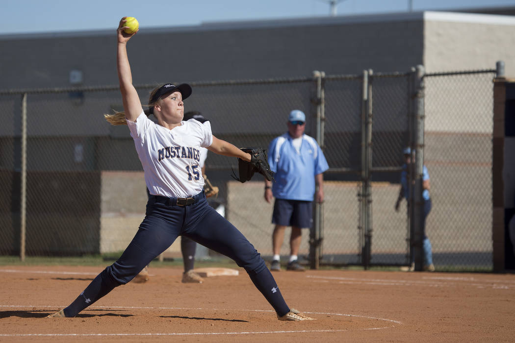 Shadow Ridge junior Mia Voges pitches to Centennial during a game at Shadow Ridge High School on Wednesday, April 19, 2017, in Las Vegas.(Bridget Bennett/Las Vegas Review-Journal) @bridgetkbennett