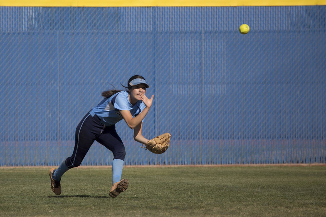 Centennial  junior Rhea Paiva prepares to catch the ball during a game against Shadow Ridge at Shadow Ridge High School on Wednesday, April 19, 2017, in Las Vegas.(Bridget Bennett/Las Vegas Review ...