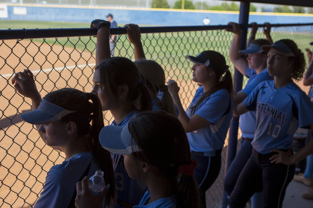 Centennial teammates watch the first inning from the dugout during a game against Shadow Ridge at Shadow Ridge High School on Wednesday, April 19, 2017, in Las Vegas.(Bridget Bennett/Las Vegas Rev ...