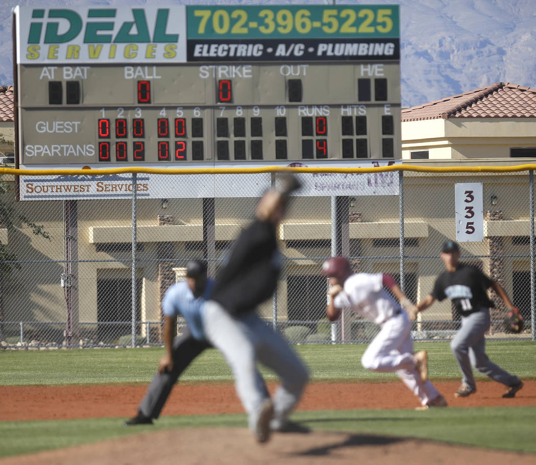 Scoreboard during a high school baseball game at Cimarron-Memorial High School on Thursday, April 20, 2017, in Las Vegas. Cimarron-Memorial won 9-1. Christian K. Lee Las Vegas Review-Journal @chri ...
