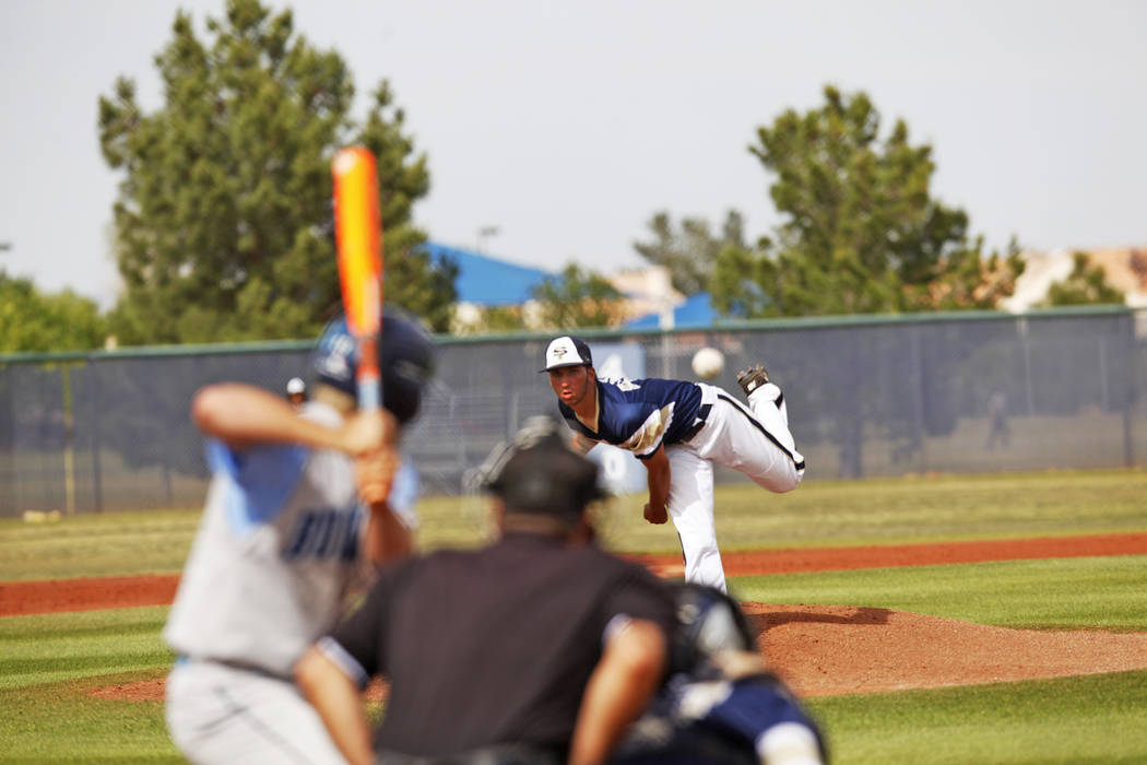 Spring Valley's Nick Rupp (44) pitches against Centennial High School on Monday, April 24, 2017, at Spring Valley High School in Las Vegas. Rachel Aston Las Vegas Review-Journal @rookie__rae