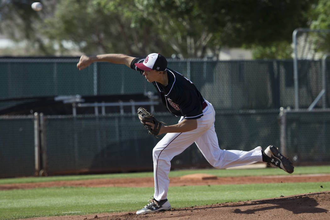 Desert Oasis' Brett Brocoff (11) pitches against Bishop Gorman at Desert Oasis High School on Tuesday, April 18, 2017, in Las Vegas. Desert Oasis won 5-1. Erik Verduzco Las Vegas Review-Journal @E ...