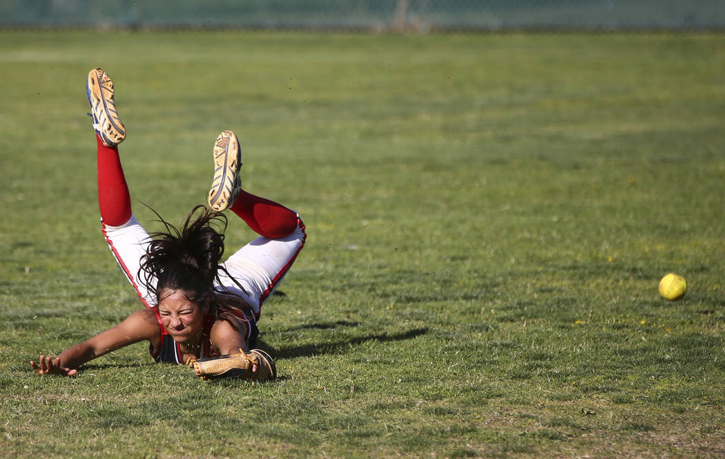 Liberty's Jasmine Gonzalez (99) misses a fly ball from Foothill during a baseball game at Liberty High School in Henderson on Wednesday, April 26, 2017. Chase Stevens Las Vegas Review-Journal @css ...