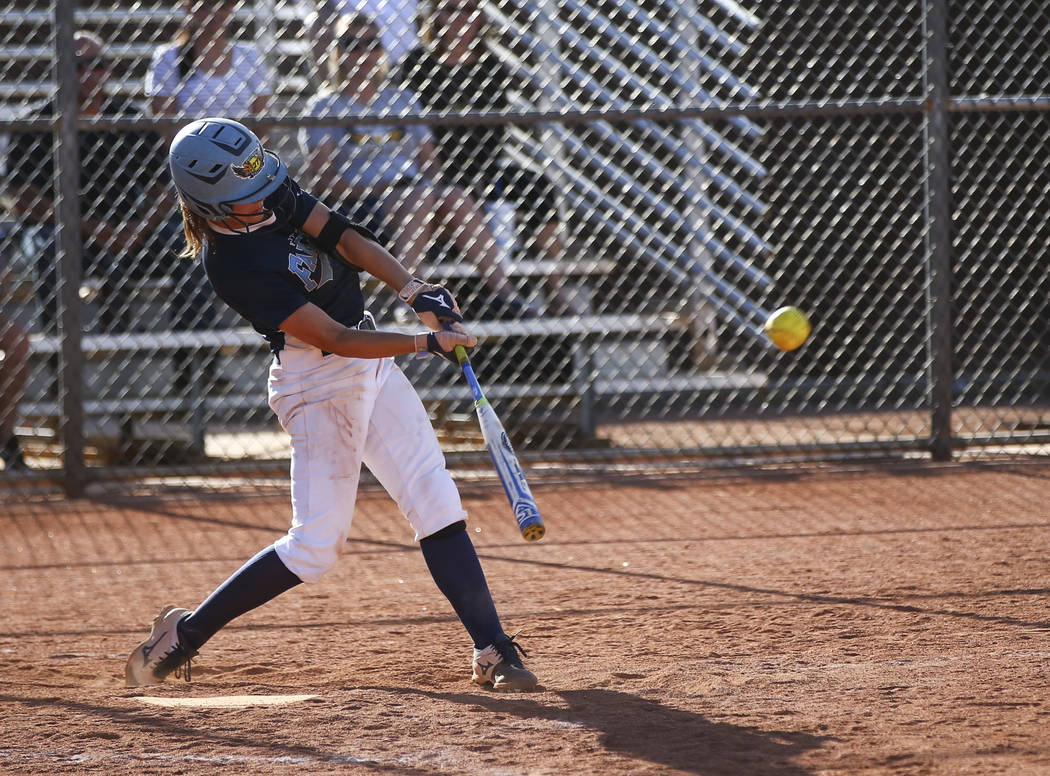 Foothill's Katelyn Enzweiler (27) hits the ball against Liberty during a baseball game at Liberty High School in Henderson on Wednesday, April 26, 2017. Chase Stevens Las Vegas Review-Journal @css ...