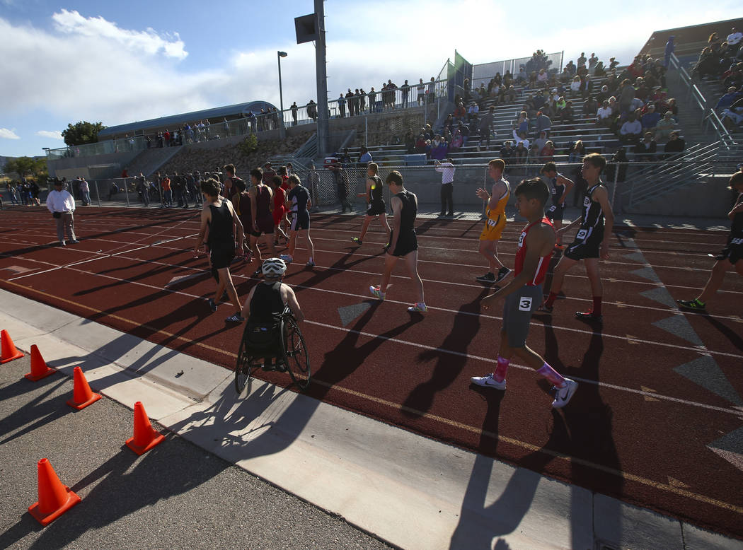 Palo Verde's Ben Slighting, who competes in a wheelchair, before the 1600-meter run during a track and field meet at Centennial High School in Las Vegas on Friday, April 28, 2017. Chase Stevens La ...