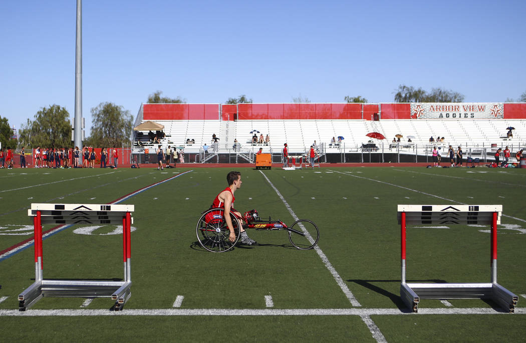 Arbor View freshman Blake Dickinson between events during a track and field meet at Arbor View High School in Las Vegas on Wednesday, April 19, 2017. Chase Stevens Las Vegas Review-Journal @csstev ...