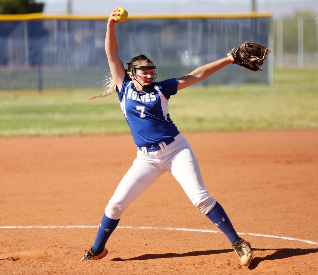Basic High School's Shelby Basso pitches against Foothill High School during the fifth inning at Basic High School in Henderson, May 1, 2017. Elizabeth Brumley Las Vegas Review-Journal @EliPagePhoto