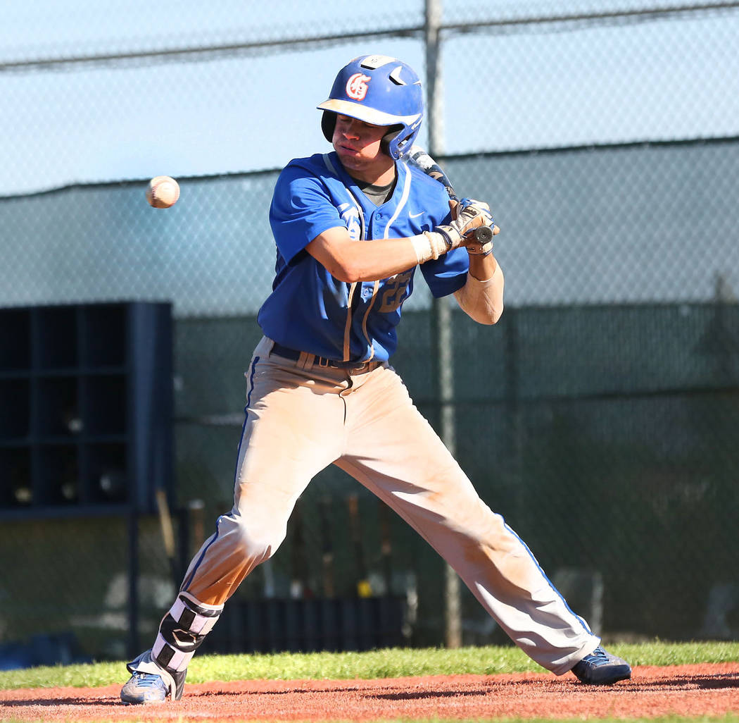 Bishop Gorman's Braxton Wehrle bats against Spring Valley at Spring Valley High School in Las Vegas, Tuesday, May 2, 2017. Elizabeth Brumley Las Vegas Review-Journal @EliPagePhoto
