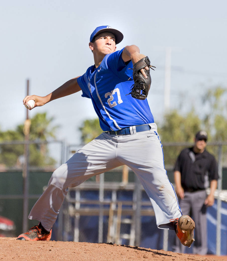 Bishop Gorman's Dutch Landis pitches against Spring Valley at Spring Valley High School in Las Vegas, Tuesday, May 2, 2017. Elizabeth Brumley Las Vegas Review-Journal @EliPagePhoto
