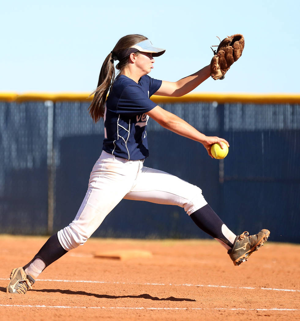 Centennial's Abby Hanley pitches against Faith Lutheran during the fourth inning at Centennial High School in Las Vegas, Wednesday, May 3, 2017. Elizabeth Brumley Las Vegas Review-Journal @EliPage ...