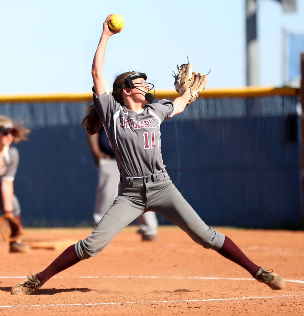 Faith Lutheran's  Sophie Foster pitches during the fourth inning against Centennial at Centennial High School in Las Vegas, Wednesday, May 3, 2017. Elizabeth Brumley Las Vegas Review-Journal @EliP ...